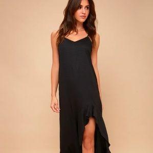 LuLu's Kick it Up Black Maxi Dress